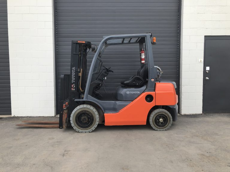 Toyota 8FGU25 used forklift for sale at Towable Tools. Dual Fuel